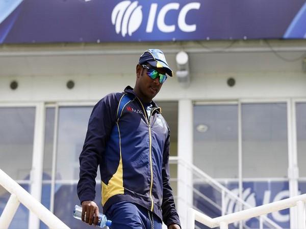 Sri Lanka's Angelo Mathews during nets