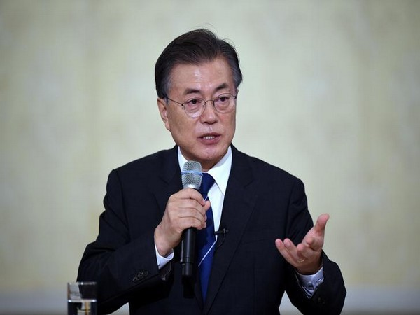South Korean President Moon Jae-In speaks during a press conference marking his first 100 days in office at the presidential house in Seoul